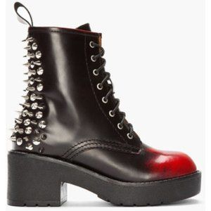 🔥⚡Jeffrey Campbell Wine Brush Off 8th St Boots🔥⚡